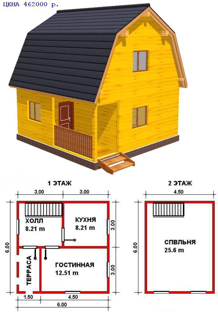 Проект дома с мансардой из бруса 7 на 9 с мансардой своими руками