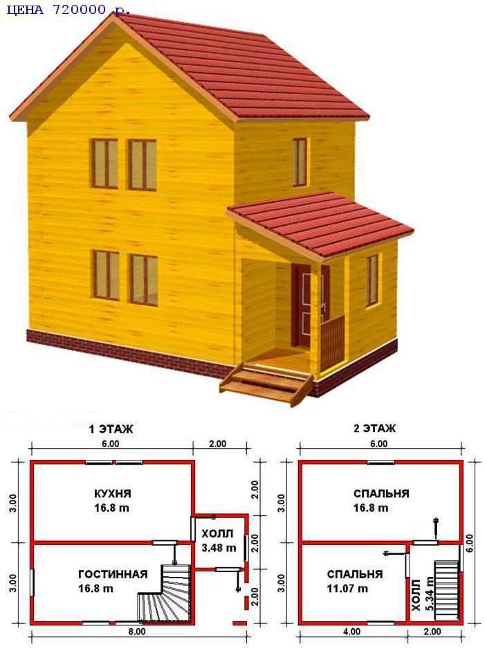 Дом из бруса 8 на 8 построить своими руками 14