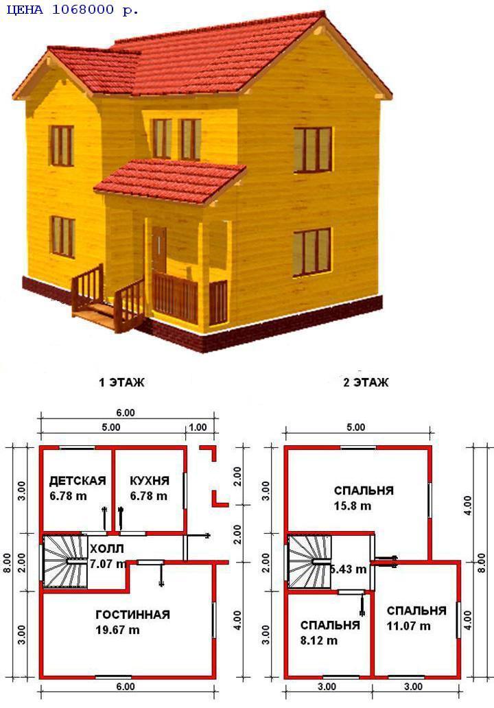 проекты двухэтажных бань из бруса 6 6 плюс веранда